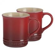 Le Creuset of America Stoneware Mug, 350ml, Cherry, Set of 2