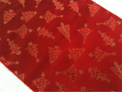 ArtOFabric Christmas Polyester Brocade Winter Table Runner 30cm x 270cm Inches - Christmas Tree Red