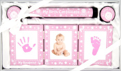 New Baby Girl Christening Gift 4 Piece Keepsake Set, First Curl and Tooth Box, Hand and Footprint Prints Kit, Pink White