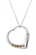 .925 Sterling Silver Pendant & Necklace Gift Boxed Birthstone Heart November Citrine