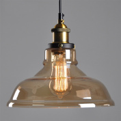 E27 40W Eroupean Countryside Amber Glass Shade Ceiling Chandelier Fitting Vintage Retro Pendant Lamp Light Little Torch Style