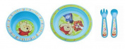 3 Set : Baby Pulp bowl + Eating learning plate + Eating learning cutlery Disney Winnie Pooh blue
