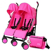 Zeta Citi TWIN Stroller Buggy Pushchair - Raspberry Pink Double Stroller With Bag
