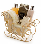 BRUBAKER 6 pieces Bath set 'Vanilla Christmas' sleigh with gold Gift set