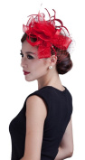 La Vogue Women Flower Fancy Feather Fascinators Handmade Sinamay Hair Clip Red
