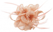 La Vogue Women Ivroy Wedding Hair Fascinator Feather Sinamay Hair Clip Peach Beige