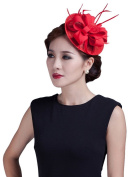 La Vogue Ladies Sinamay Fascinator Pillbox Hat Clip Vintage Cocktail Headpiece Red