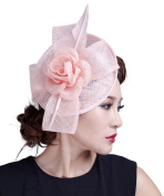 La Vogue Vintage Lady Sinamay Feather Fascinator Headband Party Church Hats Light Pink