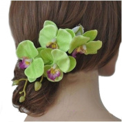Long Orchid Hair Flower Branch Head Clip Festival Holiday Rockabilly Fascinator *EXCLUSEIVE SOLD BY SUFIAS ACCESSORIES*