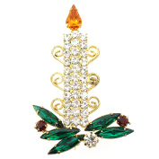 Yellow Flame Christmas Candle Brooch Pin