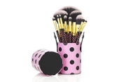 12 Make up Brushes Cup Sets - 2-Colour polka dot pink Synthetic Hair, Gold Aluminium Ferrule, Natural Wood Handle, Leather Cup by TARGARIAN