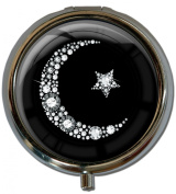 """Pillbox in a round shape """"Islamic moon in silver """""""