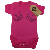 Metallimonsters Swallows pink baby vest