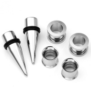 JOVIVI® 6pc Stretching Kit Stainless Steel Silver Taper & Tunnels & Plugs Expander Gauges 6G-00G