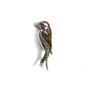 Classic Baltic Green Amber, Silver and Coral Small Woodpecker Bird Brooch