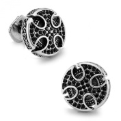Men's Vintage Handcrafted Platinum-plated Black Knight Cross Cufflinks, Shirt Studs, Gift Box Included