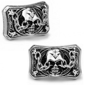 Men's Vintage Handcrafted Platinum-plated Demon Skull Cufflinks, Shirt Studs, Gift Box Included