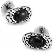 Men's Vintage Handcrafted Platinum-plated with Black Agate Cufflinks, Shirt Studs, Gift Box Included