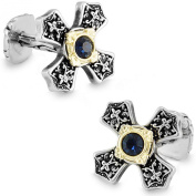 Men's Vintage Handcrafted Platinum-plated with Diamond Black Cross Cufflinks, Shirt Studs, Gift Box Included