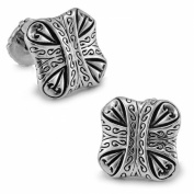 Men's Vintage Handcrafted Platinum-plated with Diamond Letter Stone Cufflinks, Shirt Studs, Gift Box Included