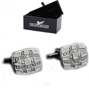 Men's Novelty Classic Engraved Grid Cufflinks with Luxury Gift Box