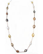 "Gold Plated Tube 35"" 90cm 12mm Multicolour Cultured Natural Freshwater Baroque Drop Pearl Chain Necklace Jewellery Gift Present"