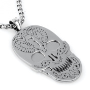 COPAUL Unique Mens Stainless Steel Skull Pendant Silver