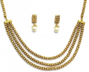 Shingar Jewellery Ksvk Jewels Women's Shingar By Karan Singh Vijay Kumar Antic Gold Look Necklace Set