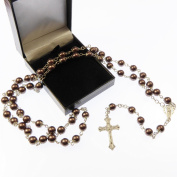 Large brown pearly rosary with filigree covered paters gift boxed