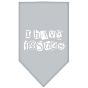 Mirage I Have Issues Screen Print Bandana for Pets, Large, Grey