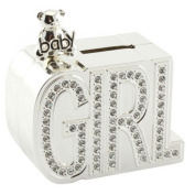 GIRL DIAMANTE MONEY BOX SILVER PLATED CHRISTENING GIFT BABY SAVINGS COINS NEW