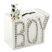 BOY DIAMANTE MONEY BOX SILVER PLATED CHRISTENING GIFT BABY SAVINGS COINS NEW