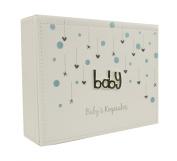 White and Blue Faux Leather Baby Boy Keepsake Box Gift