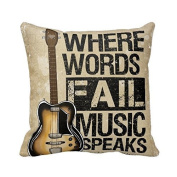 Where Words Fall Music Speaks Quote Throw Pillow Case Vintage Cushion Cover Guitar Pillowcase 18x18 Twin Sides