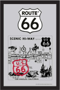 Empire Merchandising 538673 Printed Mirror with Plastic Frame with Wood Effect Featuring Route 66 Old Map 20 x 30 cm
