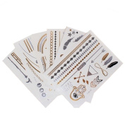 12 x Cards of Assorted Metallic Gold & Silver Temporary Tattoos - Jewellery Size 210 mm x150 mm Sheets
