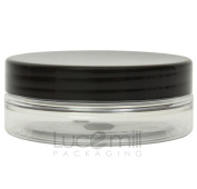 10 x 50mL CLEAR PLASTIC PET COSMETIC SQUAT JARS w/ BLACK SCREW LIDS for Creams/Liquids/Make Up/Travel/Oils