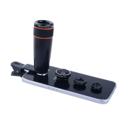 Apexel 4-in-1 Wide Angle Macro, Fisheye, 12x ABS Telephoto Lens with Universal Holder for Smartphone and Tablet