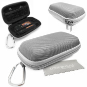 LOVE MY CASE / DURABLE Silver MP3 Player Case, Hard Clamshell Case, Earphone Case, Holder with Carabiner Clip for SanDisk Sansa Clip Sport with Love My Case Cleaning Cloth
