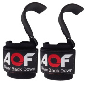 AQF Weight Lifting Training Gym Hook Grips Straps Gloves Wrist Support Lift 230kg.