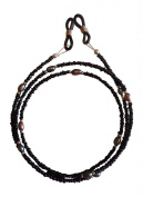 ShoreThing UK Black Specatle/Glasses Chain with Peacock Freshwater Pearls : 70cm - 80cm. Black/Silver