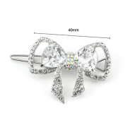 Glamorousky Charming Ribbon Barrette with Silver. Element Crystal