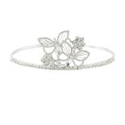 Silver Tone Sparkly. Crystal Studded Tiara Headband Butterfly And Daisy Flower Detail Headband By Mytoptrendz