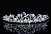 Venus Jewellery Women's Floral Leaf Bridal Wedding Tiara Crown - Blue Crystals Silver Plating T662