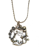 Alice in Wonderland Brass Necklace Featuring Alice with Cheshire Cat