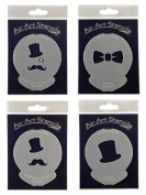Monocle and Hat Stencil Set of 4 - Reusable Flexible Food Grade Plastic Stencil for Cake and Craft Design, Airbrushing and more