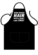 "ICONIC APRONS MENS NOVELTY APRON,""WHO NEEDS HAIR WITH A BODY LIKE THIS""FRONT PRINT,COOKWARE,COOKING APRON,BAKEWARE APRON,BBQ APRON"
