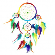 Large Dreamcatcher Rainbow Bright Feather & Bead Native American Dream Catcher - Fair Trade.