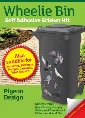 Wheelie Bin Self Adhesive Sticker Kit, Pigeons Design
