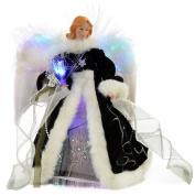 WeRChristmas 30 cm Fibre Optic Angel Decoration Christmas Tree Top Topper with Feather Wings, Black/ Silver
